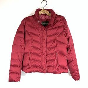 Eddie Bauer Red Puffer Goose Down Jacket Sz Large